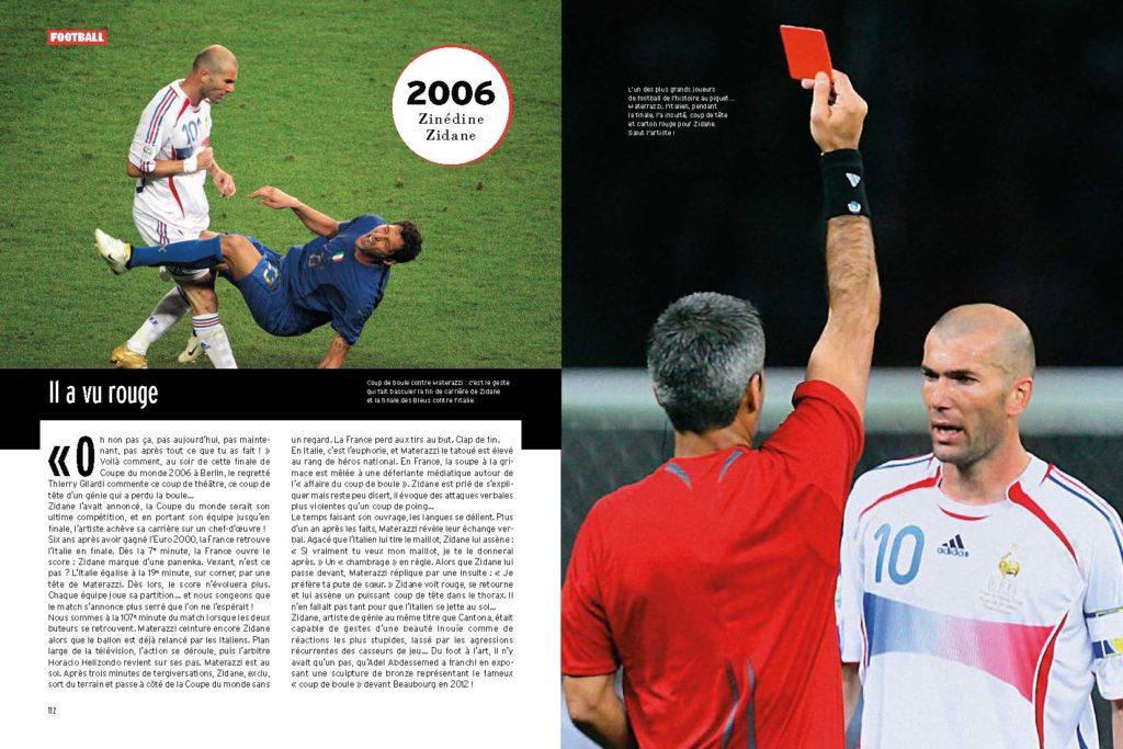 Fin de carrière sur un carton rouge pour Zinédine Zidane qui perd ses nerfs sur Materazzi