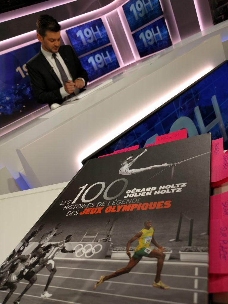 A BFTMtv pendant la pause publicitaire avant le journal de 19h pour présenter les 100 Histoires de Légende des Jeux Olympiques