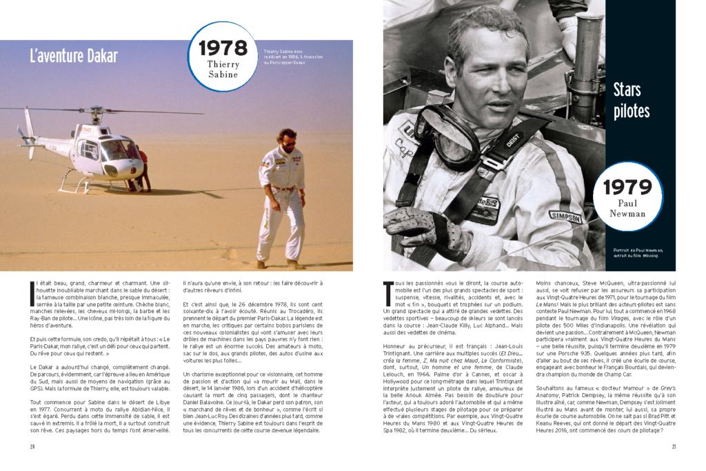 Extrait des 100 Histoires de Légende du Sport Auto - à gauche Thierry Sabine, à droite Paul Newman et Jean-Louis Trintignant
