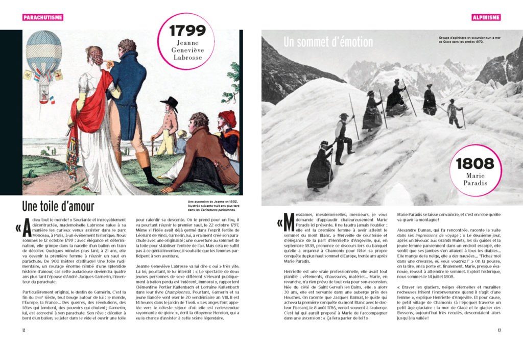 Les 100 Histoires de Légende du Sport au Féminin - Jeanne Geneviève Labrosse en parachute - Marie Paradis première femme au sommet du Mt Blanc