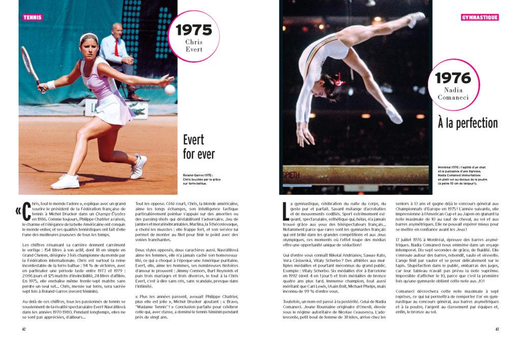 Les 100 Histoires de Légende du Sport au Féminin - A gauche : Chris Evert à Roland Garros - A droite : Nadia Comaneci à la poutre (JO de 1976)