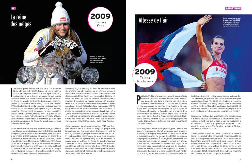 Les 100 Histoires de Légende du Sport au Féminin : A gauche : Lindsey Vonn et ses globes de cristal - A droite : Yelena Isinbayeva lors de son dernier record du monde