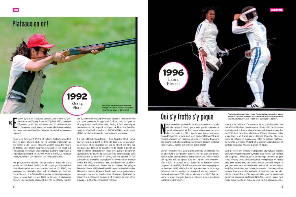Les 100 Histoires de Légende du Sport au Féminin - A gauche : Zhang Shan à la carabine (JO de Barcelone) - A droite : Laura Flessel (JO d'Atlanta)