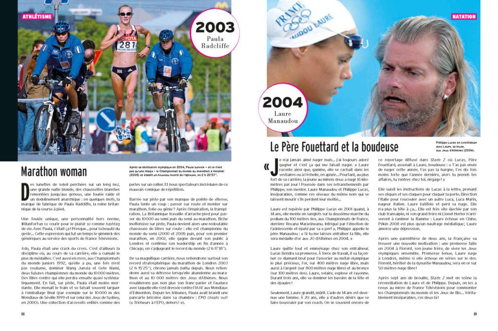 Les 100 Histoires de Légende du Sport au Féminin - A gauche : Paula Radcliffe au marathon des championnats du monde (2005) - A droite : Laure Manaudou et son entraîneur Philippe Lucas