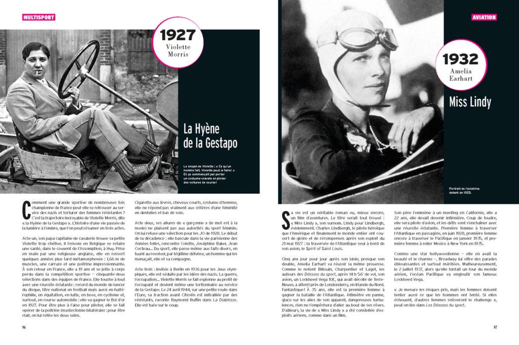 Les 100 Histoires de Légende du Sport au Féminin : A gauche : Violette Morris passée de l'équipe de France à la Gestapo - A droite : Amelia Earhart, icone américaine de l'aviation