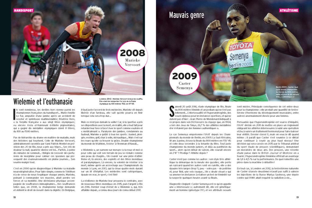 Les 100 Histoires de Légende du Sport au Féminin - A gauche : Marieke Vervoort victorieuse en fauteuil - A droite : Caster Semenya championne du monde du 800m (2009)