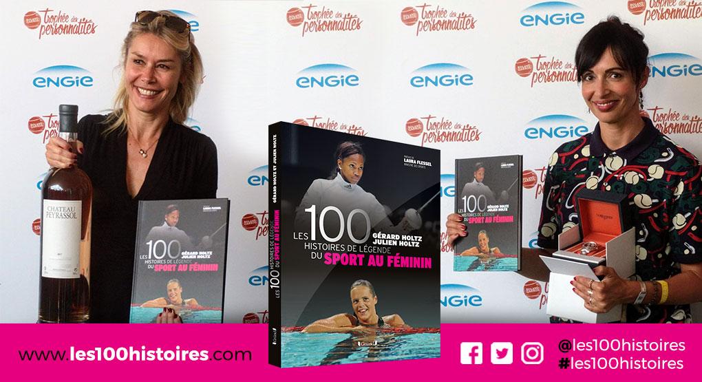 Les 100 Histoires de Légende du Sport au Féminin entre les mains d'Axelle Marine (à gauche) et Géraldine Maillet (à droite)