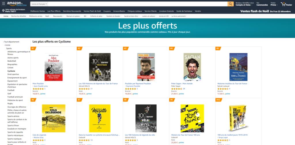 Les 100 Histoires de Légende du Tour de France et du Vélo en tête du classement des livres les plus offerts