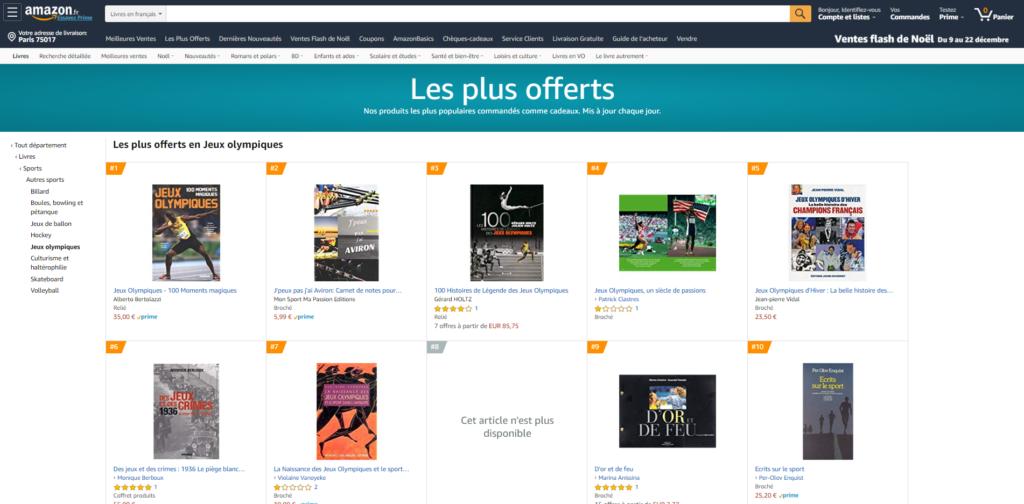 Les 100 Histoires de Légende des Jeux Olympiques dans le top 3 du classement des livres les plus offerts