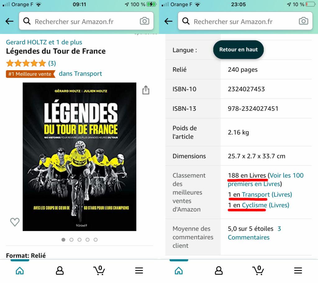 Légendes du Tour de France : 188ème meilleure vente tous livres confondus sur Amazon pour les cadeaux de Noël