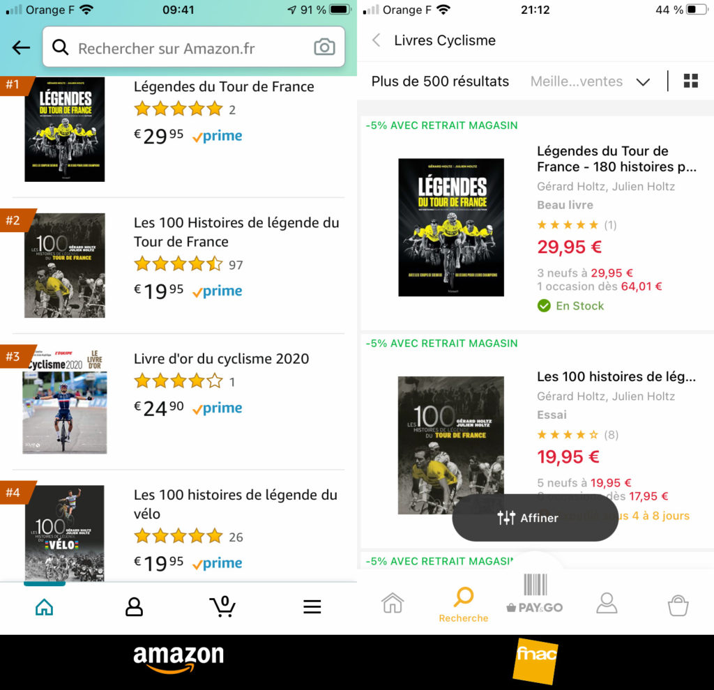Légendes du Tour de France, le dernier livre de Gérard et Julien Holtz sont au top des ventes sur Amazon et Fnac.com en compagnie de deux autres de leurs livres : les 100 Histoires de Légende du Vélo et les 100 Histoires de Légende du Tour de France